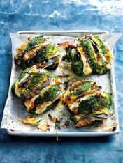 sage and haloumi roasted broccoli with caramelised leek