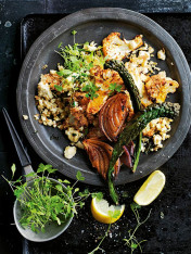 scrambled tofu with roasted cauliflower and greens