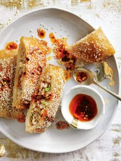 sesame prawn toasts with chilli oil