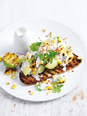 avocado and char-grilled corn on rye toast