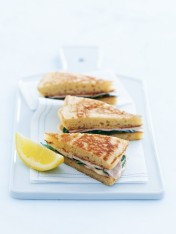 smoked chicken and fennel blini sandwiches