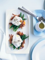 soft-poached eggs with sweet potato hash browns