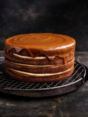 spiced date layer cake with butterscotch icing