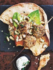 spiced turkey kofta skewers with bean salad