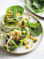 spicy squid and prawn larb with green nam jim