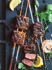 spicy tahini and harissa beef skewers