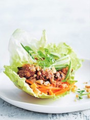 spicy tempeh lettuce cups with pickled carrot and cucumber