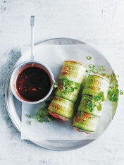 spicy tofu and green tea noodle rice paper rolls