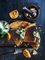 spinach and feta flatbread
