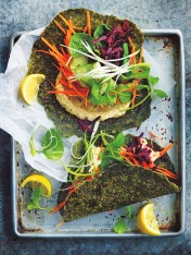 spinach wraps with baba ghanoush, beetroot, carrot and cucumber