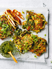 spiralised zucchini and haloumi fritters