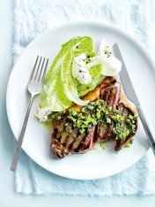 char-grilled steak with green olive, caper and basil salsa