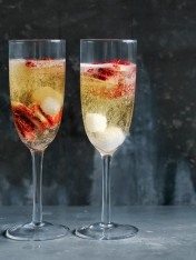 strawberry and bitters sparkling cocktail