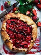 strawberry, ricotta and rhubarb tart