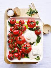 basil poached tomato salad