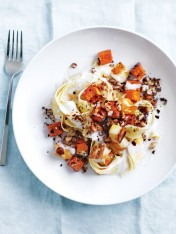 sweet potato, haloumi and almond pappardelle