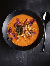 sweet potato and harissa soup with tahini and crispy chickpeas