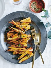 thyme and champagne-roasted parsnips