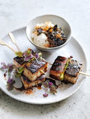 twice-cooked pork belly yakitori skewers with nori jam