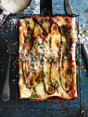 veal, pork and zucchini individual lasagne