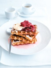 waffles with baked rhubarb