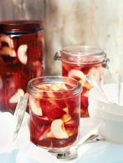 white peaches in pink champagne jelly
