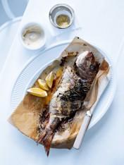 whole baked fish with lemon salt and aioli