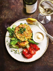 zucchini and kimchi fritters with cured ocean trout