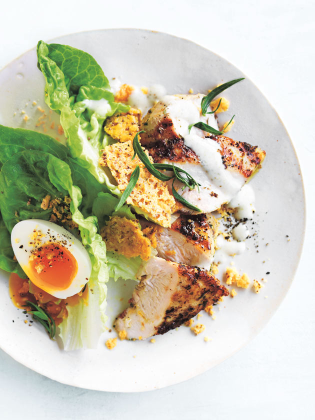 Chicken Caesar Salad With Parmesan Crisps And Creamy Tofu Dressing Donna Hay