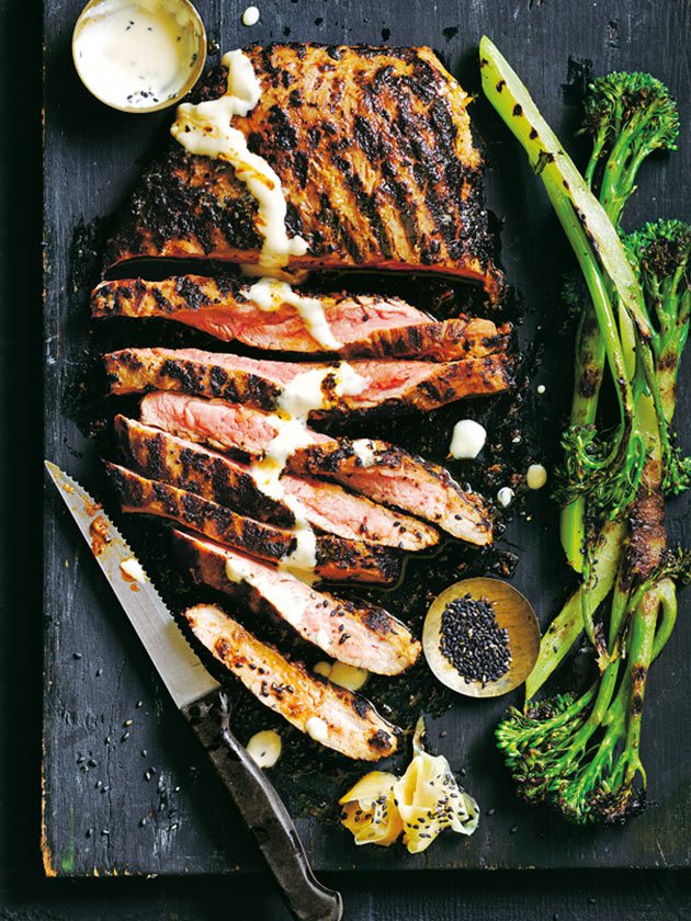 Ginger And Miso Marinated Flank Steak With Charred Broccolini | Donna Hay