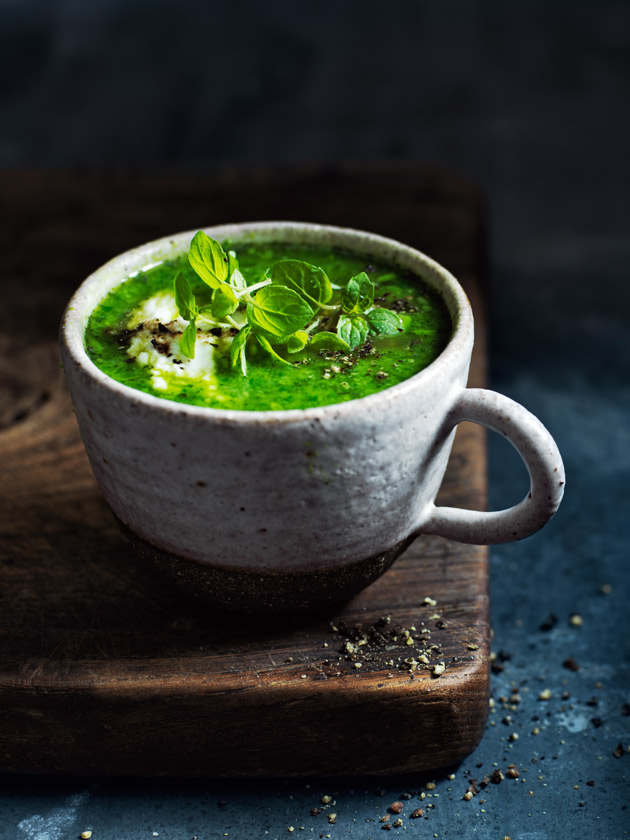 kale, pea and spinach soup