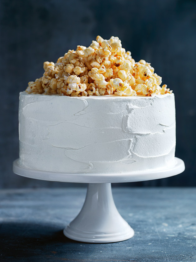 Milk Chocolate Layer Cake With Caramel Popcorn