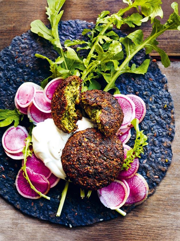 oven-baked super green falafels
