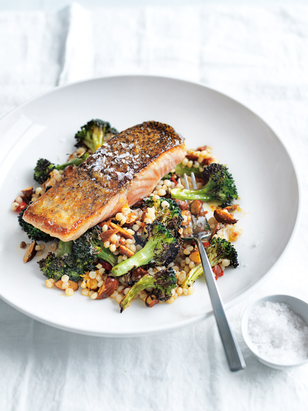 Roasted Salmon With Broccoli And Israeli Couscous | Donna Hay