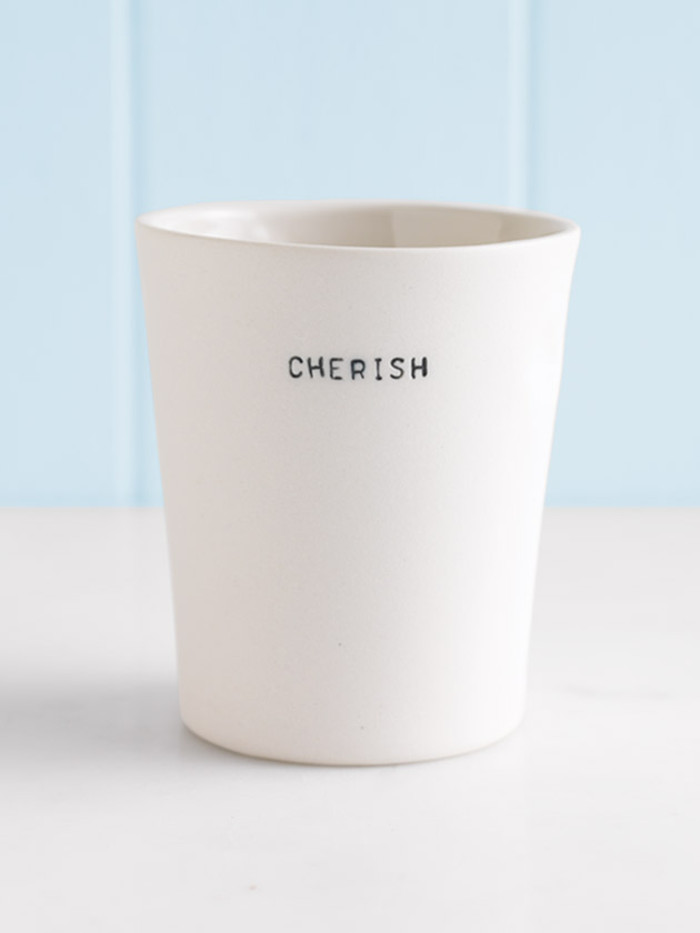 handmade thumbprint cup - cherish