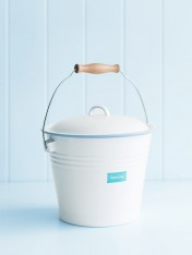 enamel bucket with lid blue