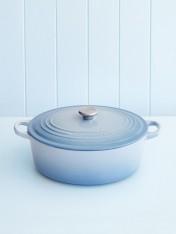 Le Creuset 29cm oval casserole in coastal blue