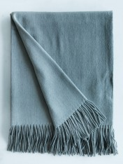 WOOL AND CASHMERE THROW - ASH GREEN/SAGE