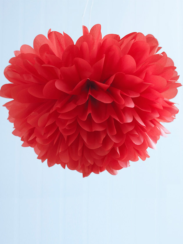 pom poms tissue medium – red