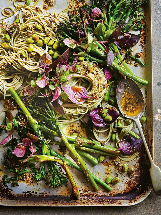 IN-SEASON SESAME AND NORI ROASTED BROCCOLINI WITH GREEN TEA NOODLES